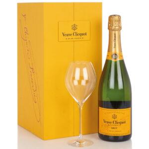 Veuve Clicquot Brut (Carte Jaune) Champagne in luxe coffret met 2 flutes | Heeren van de Wijn